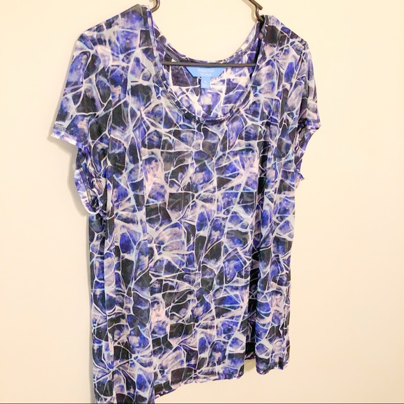 Size Plus Short Sleeve Blouses 3X,2X,1X,Simply Vera Wang Multi Color 100/% rayon